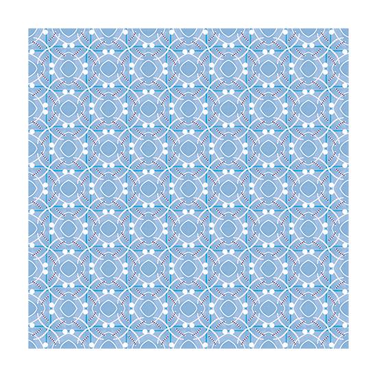 Geometrical art in blue and white.
