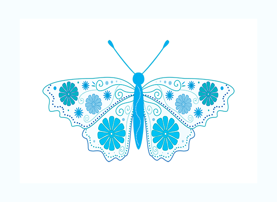 Digital art in white and blue: a butterfly with a delicate flower motif on wings.