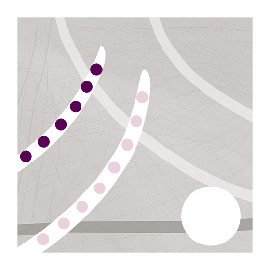 Abstract digital art in white, grey and purple.