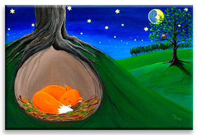 Little fox sleeping quietly in his safe hole - children´s art.