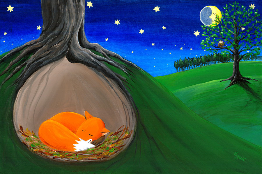 Little fox sleeping quietly in his safe hole. Children´s art.