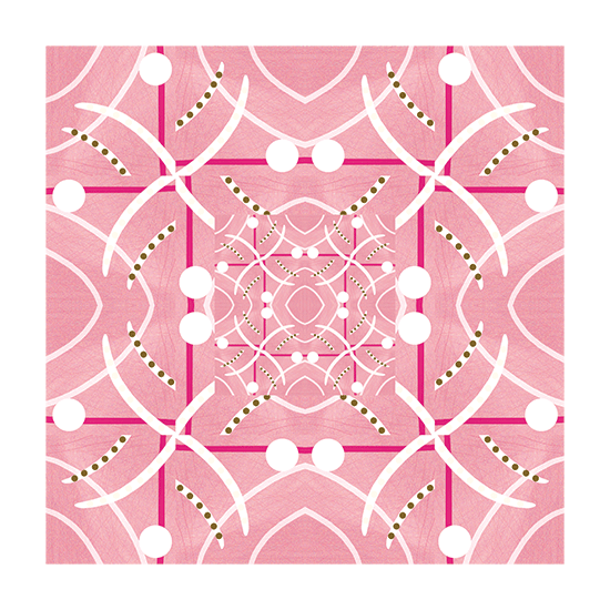 Geometrical art in pink and white.