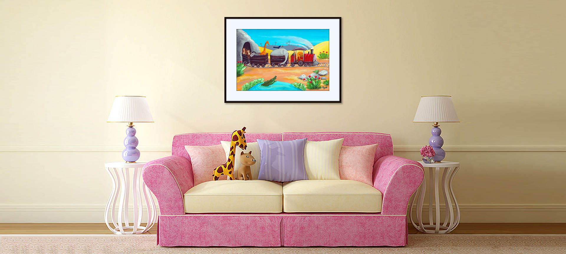 Jungle animals picture above a red sofa.